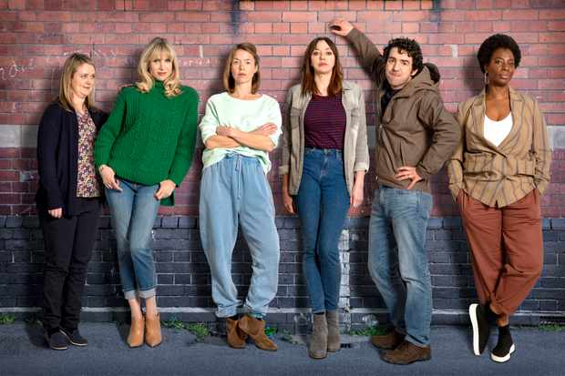 Programme Name: Motherland S2 - TX: n/a - Episode: n/a (No. n/a) - Picture Shows:  Anne (Philippa Dunne), Amanda (Lucy Punch), Julia (Anna Maxwell Martin), Liz (Diane Morgan), Kevin (Paul Ready), Meg (Tanya Moodie) - (C) Merman - Photographer: Colin Hutton