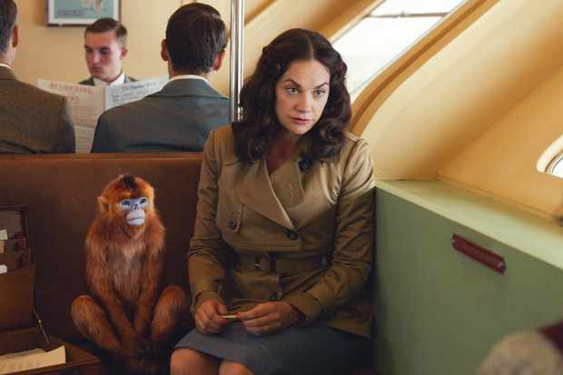 Ruth Wilson's Mrs Coulter with her monkey dæmon (BBC)