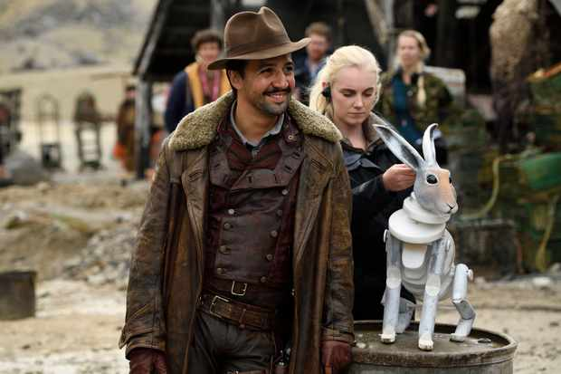 Programme Name: His Dark Materials - TX: n/a - Episode: n/a (No. 4) - Picture Shows: Behind the scenes from episode 4 Lee Scoresby (LIN-MANUEL MIRANDA) - (C) Bad Wolf - Photographer: Alex Bailey