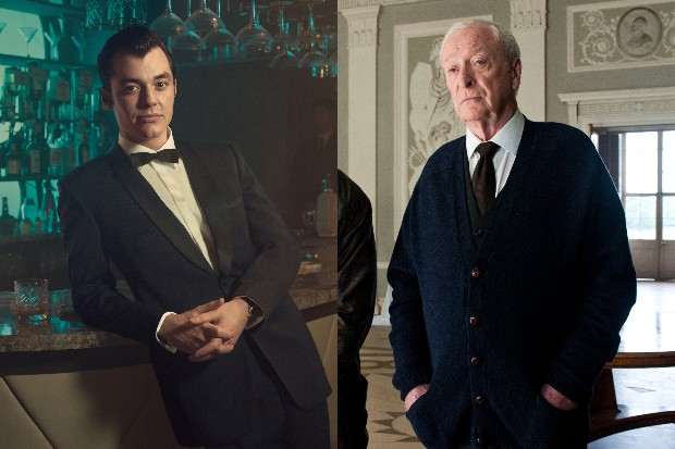 Jack Reynor and Michael Caine as Alfred Pennyworth in Pennyworth and The Dark Knight Rises respectively (Sky, WB)
