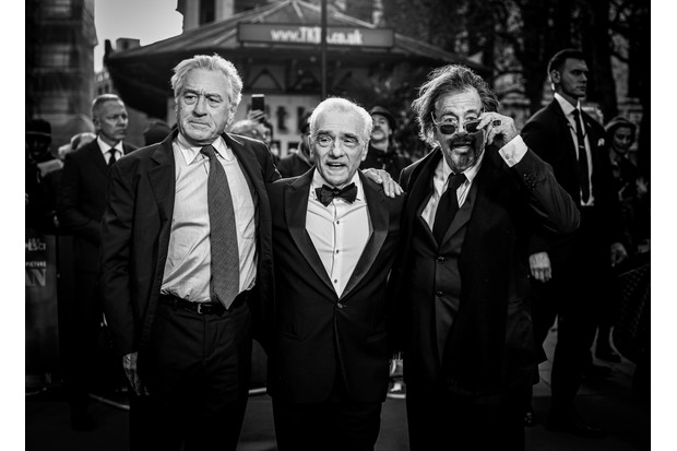 "LONDON, ENGLAND - OCTOBER 13: (EDITORS NOTE: Image has been digitally manipulated)  Al Pacino, Martin Scorsese and Robert De Niro attend ""The Irishman"" International Premiere and Closing Gala during the 63rd BFI London Film Festival at the Odeon Luxe Leicester Square on October 13, 2019 in London, England. (Photo by Mike Marsland/WireImage)"