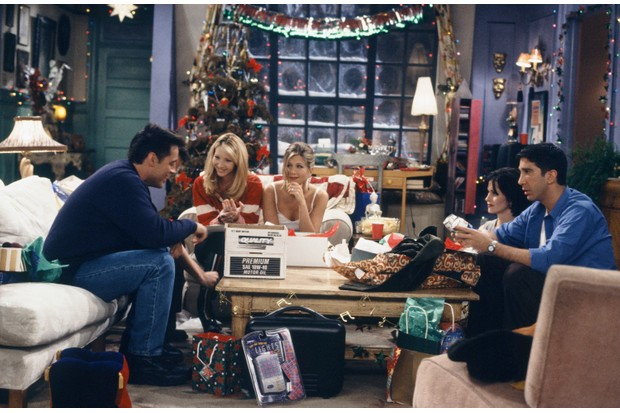 "FRIENDS -- ""The One with Phoebe's Dad"" Episode 9 -- Air Date 12/14/1995 -- Pictured: (l-r) Matt LeBlanc as Joey Tribbiani, Lisa Kudrow as Phoebe Buffay, Jennifer Aniston as Rachel Green, Courteney Cox as Monica Geller, David Schwimmer as Ross Geller (Photo by Alice S. Hall/NBCU Photo Bank/NBCUniversal via Getty Images via Getty Images)"