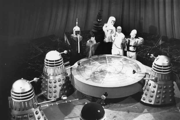 A shot from the original Mission to the Unknown filming: representatives of the seven galaxies meet and approve the Daleks' plan to conquer Earth (Getty)