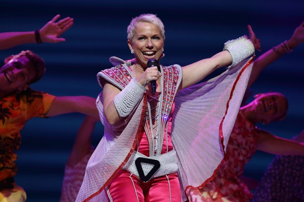 SINGAPORE - NOVEMBER 13: Cast member, Sue Devaney of the broadway musical 'Mamma Mia!' performs on stage during the media call at the MasterCard Theatres, Marina Bay Sands on November 13, 2014 in Singapore. The award winning musical, 'Mamma Mia!' inspired by the classic songs of ABBA is set to run from 13 November 2014 till 14 December 2014 (Photo by Suhaimi Abdullah/Getty Images)