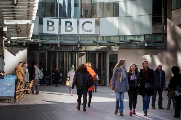 people arriving at BBC broadcasting house. Central London, UK. (Photo by In Pictures Ltd./Corbis via Getty Images)
