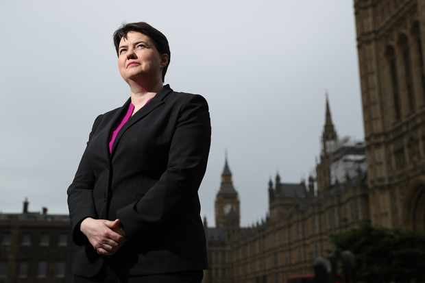 LONDON, ENGLAND - MAY 15:  Scottish Conservative party leader Ruth Davidson poses for pictures on College Green in Westminster on May 15, 2017 in London, England. Ruth Davidson will later deliver the 2017 Orwell Prize Shortlist Lecture at UCL, (University College London). (Photo by Dan Kitwood/Getty Images)