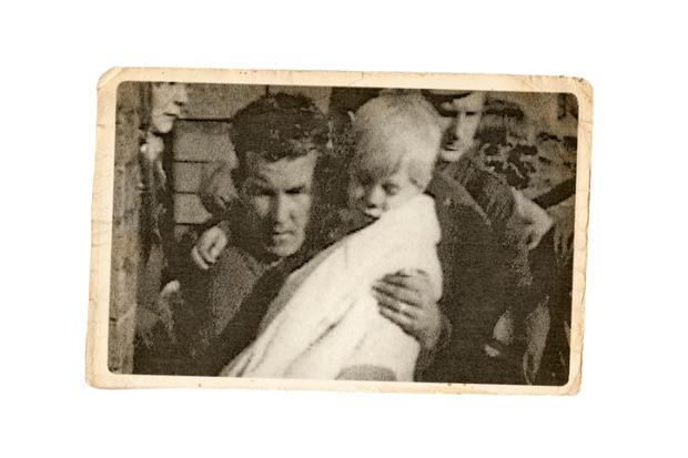 Jeff Edwards as he was rescued from Aberfan's local school, 1996