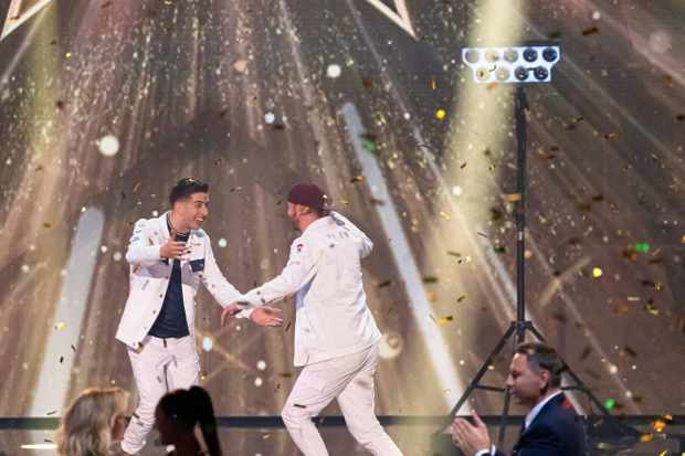 This image is strictly embargoed until 22.30 Saturday 28th September 2019  From Syco / Thames  Britain's Got Talent: The Champions: Ep5 on ITV  Pictured: Twist and Pulse.  This photograph is (C) Syco/Thames and can only be reproduced for editorial purposes directly in connection with the programme or event mentioned above, or ITV plc. Once made available by ITV plc Picture Desk, this photograph can be reproduced once only up until the transmission [TX] date and no reproduction fee will be charged. Any subsequent usage may incur a fee. This photograph must not be manipulated [excluding basic cropping] in a manner which alters the visual appearance of the person photographed deemed detrimental or inappropriate by ITV plc Picture Desk.  This photograph must not be syndicated to any other company, publication or website, or permanently archived, without the express written permission of ITV Picture Desk. Full Terms and conditions are available on the website www.itv.com/presscentre/itvpictures/terms  For further information please contact: james.hilder@itv.com / 0207 157 3052