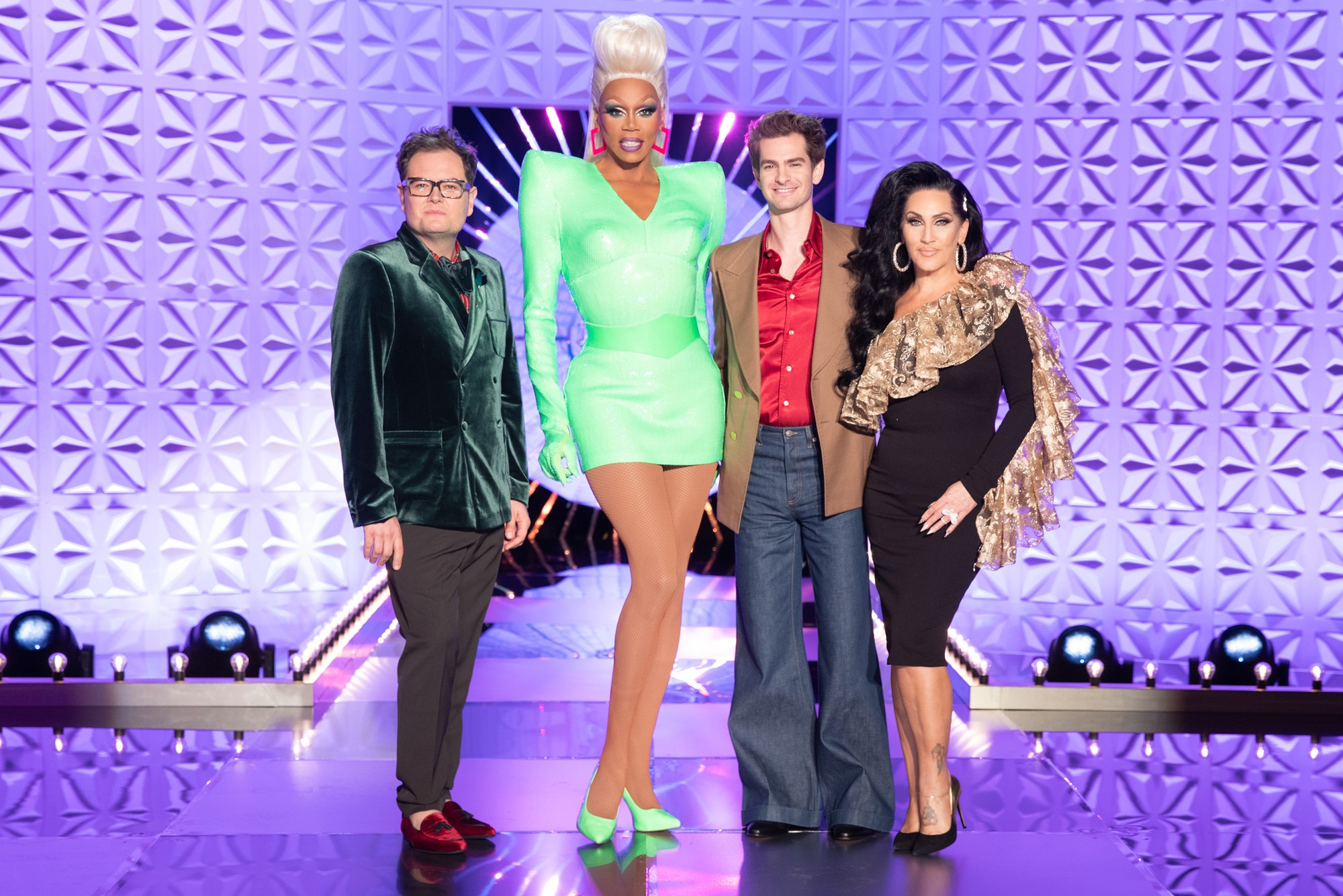 The judging panel of RuPaul's Drag Race UK episode one L-R: Alan Carr, RuPaul Charles, Andrew Garfield and Michelle Visage