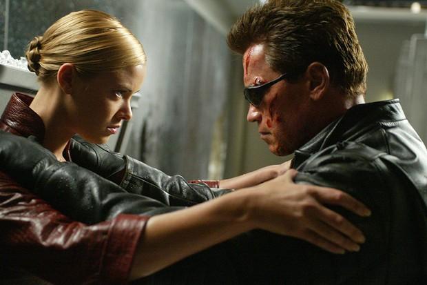 Arnold Schwarzenegger as the T-800 and Kristanna Loken as T-X (Sky)