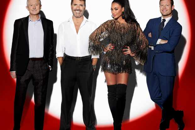 This image is strictly embargoed until 00.01 Tuesday 8th October 2019  From Syco / Thames  The X Factor: Celebrity on ITV  Pictured: Louis Walsh, Simon Cowell, Nicole Scherzinger and Dermot O'Leary.  This photograph is (C) Syco/Thames/ITV and can only be reproduced for editorial purposes directly in connection with the programme or event mentioned above, or ITV plc. Once made available by ITV plc Picture Desk, this photograph can be reproduced once only up until the transmission [TX] date and no reproduction fee will be charged. Any subsequent usage may incur a fee. This photograph must not be manipulated [excluding basic cropping] in a manner which alters the visual appearance of the person photographed deemed detrimental or inappropriate by ITV plc Picture Desk.  This photograph must not be syndicated to any other company, publication or website, or permanently archived, without the express written permission of ITV Picture Desk. Full Terms and conditions are available on the website www.itv.com/presscentre/itvpictures/terms  For further information please contact: james.hilder@itv.com / 0207 157 3052