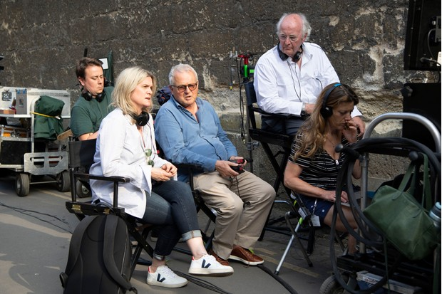 Philip Pullman on set with Exec Producer Dan McCulloch, Exec Producer Jane Tranter and Producer Laurie Borg (BBC)