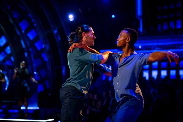 WARNING: Embargoed for publication until 20:00:01 on 03/11/2019 - Programme Name: Strictly Come Dancing 2019 - TX: 03/11/2019 - Episode: Strictly Come Dancing 2019 - TX7 RESULTS SHOW (No. n/a) - Picture Shows: **RESULTS SHOW - EMBARGOED FOR PUBLICATION UNTIL 20:00 HRS ON SUNDAY 3RD NOVEMBER 2019** Graziano Di Prima, Johannes Radebe - (C) BBC - Photographer: Guy Levy