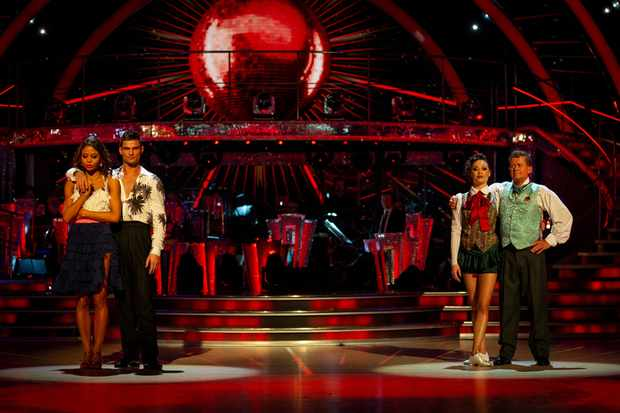 WARNING: Embargoed for publication until 20:00:01 on 03/11/2019 - Programme Name: Strictly Come Dancing 2019 - TX: 03/11/2019 - Episode: Strictly Come Dancing 2019 - TX7 RESULTS SHOW (No. n/a) - Picture Shows: **RESULTS SHOW - EMBARGOED FOR PUBLICATION UNTIL 20:00 HRS ON SUNDAY 3RD NOVEMBER 2019**  The bottom two couples Viscountess Emma Weymouth, Aljaz Skorjanec, Katya Jones, Mike Bushell - (C) BBC - Photographer: Guy Levy