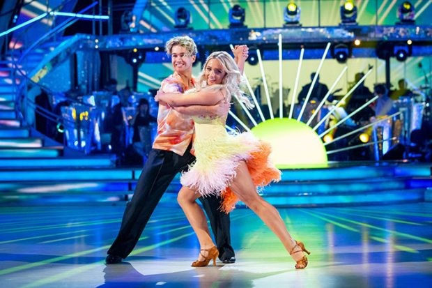 WARNING: Embargoed for publication until 20:10:01 on 23/11/2019 - Programme Name: Strictly Come Dancing 2019 - TX: 23/11/2019 - Episode: Strictly Come Dancing 2019 - TX10 LIVE SHOW (No. n/a) - Picture Shows: ++DRESS RUN++ STRICTLY EMBAROGED UNTIL 20:10:01 23/11/2019 AJ Pritchard, Saffron Barker - (C) BBC - Photographer: Guy Levy