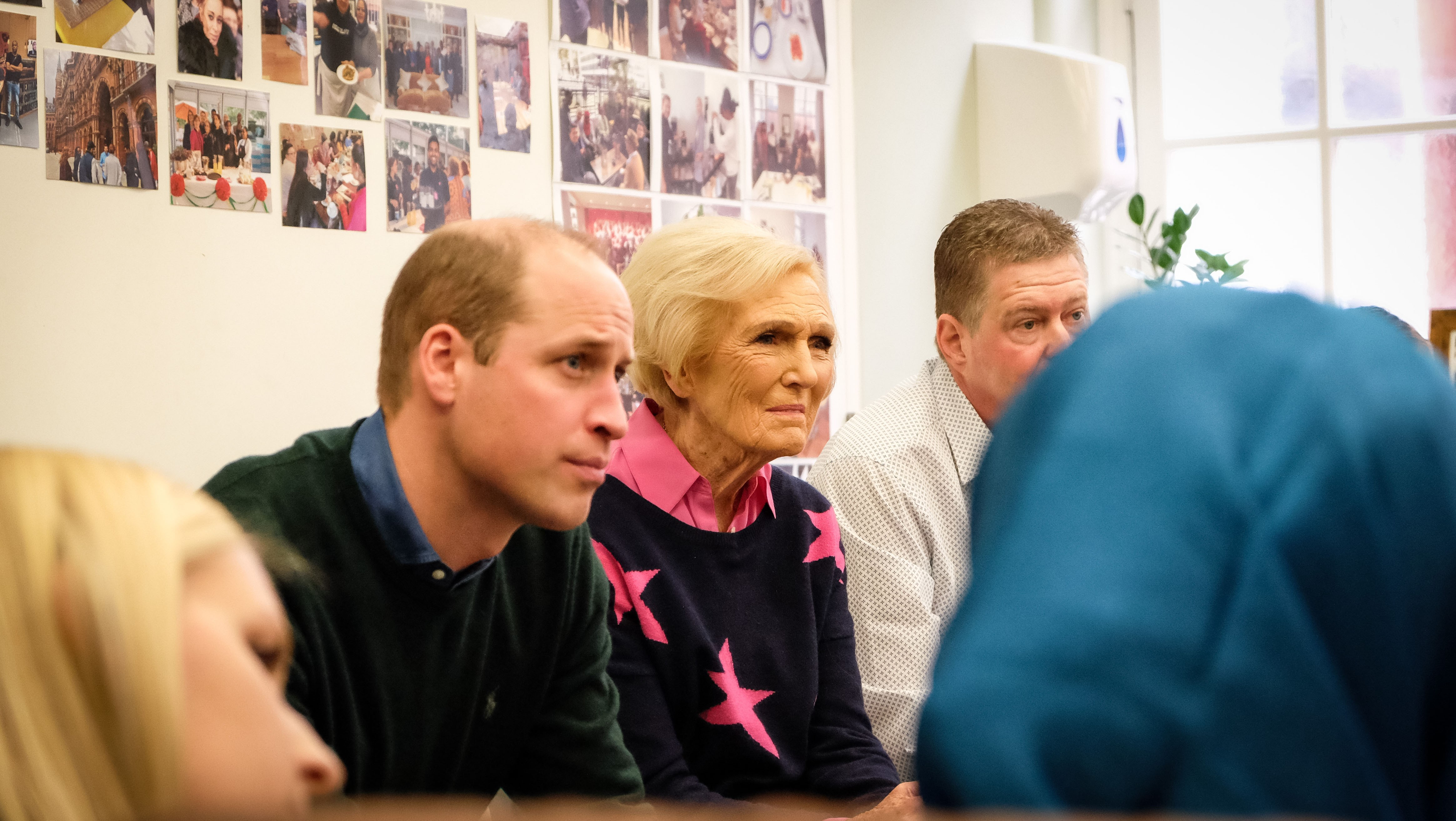 The Duke of Cambridge and Mary Berry listening in to a group conversation at The Passage, London.