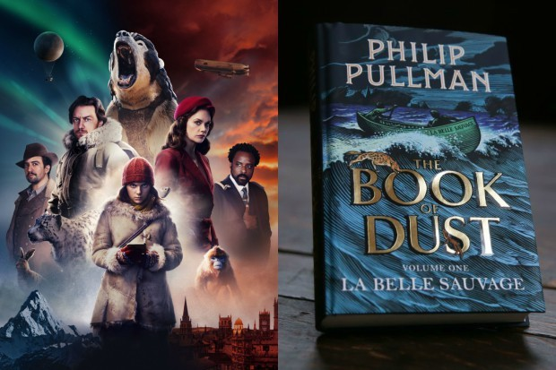 The cast of His Dark Materials with Philip Pullman's Book of Dust (BBC, Getty)