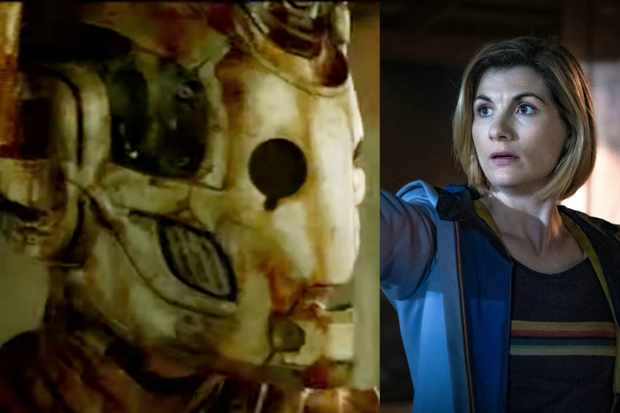 A Cyberman with Jodie Whittaker's Doctor (BBC)