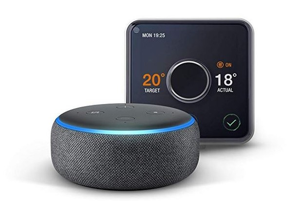 Hive Active Heating and Hot Water Thermostat with Professional Installation + Echo Dot (3rd Gen) - Charcoal Fabric