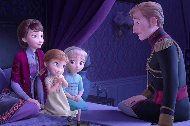 "EPIC STORY – In Walt Disney Animation Studios' ""Frozen 2,"" Queen Iduna (voice of Evan Rachel Wood) and King Agnarr (voice of Alfred Molina) share an epic story with Young Anna (voice of Hadley Gannaway) and Young Elsa (voice Mattea Conforti) about an enchanted forest and the potential danger that lingers. ""Frozen 2"" opens in U.S. theaters on Nov. 22, 2019. © 2019 Disney. All Rights Reserved."