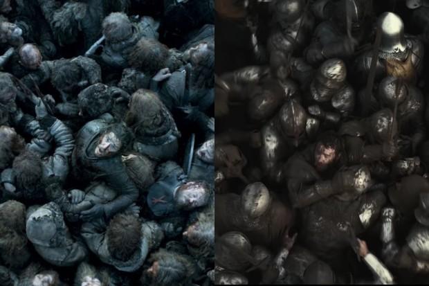 À gauche - Jon Snow dans la bataille des bâtards; Droite - Joel Edgerton dans la bataille d'Agincourt (HBO, Netflix)