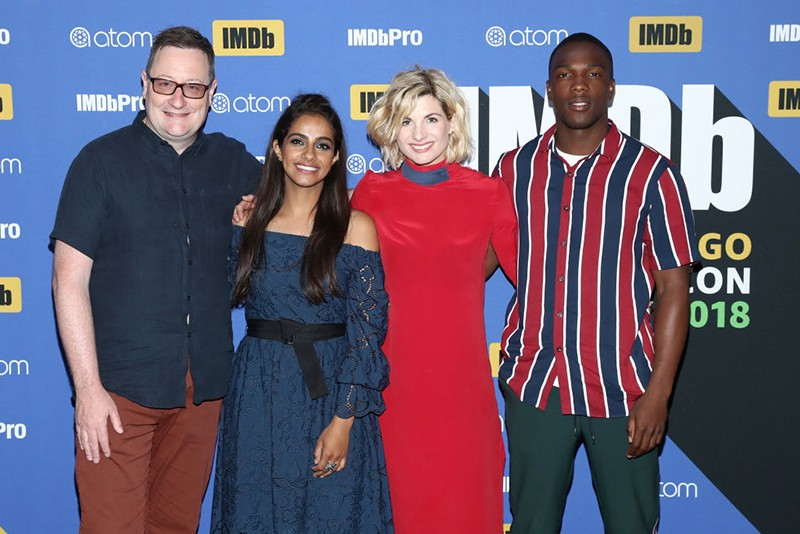 Writer Chris Chibnall, actors Mandip Gill, Jodie Whittaker and Tosin Cole at San Diego Comic-Con 2018 (Getty)