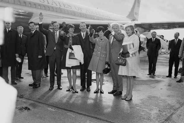 American Apollo 11 astronauts with their wives at Heathrow Airport, London, UK, 23rd October 1969; (L-R) Neil Armstrong (1930 - 2012), Janet Armstrong (1934 - 2018), Michael Collins, Pat Collins (1930 - 2014), Edwin Aldrin, Joan Aldrin (1930 - 2015). (/Getty Images)