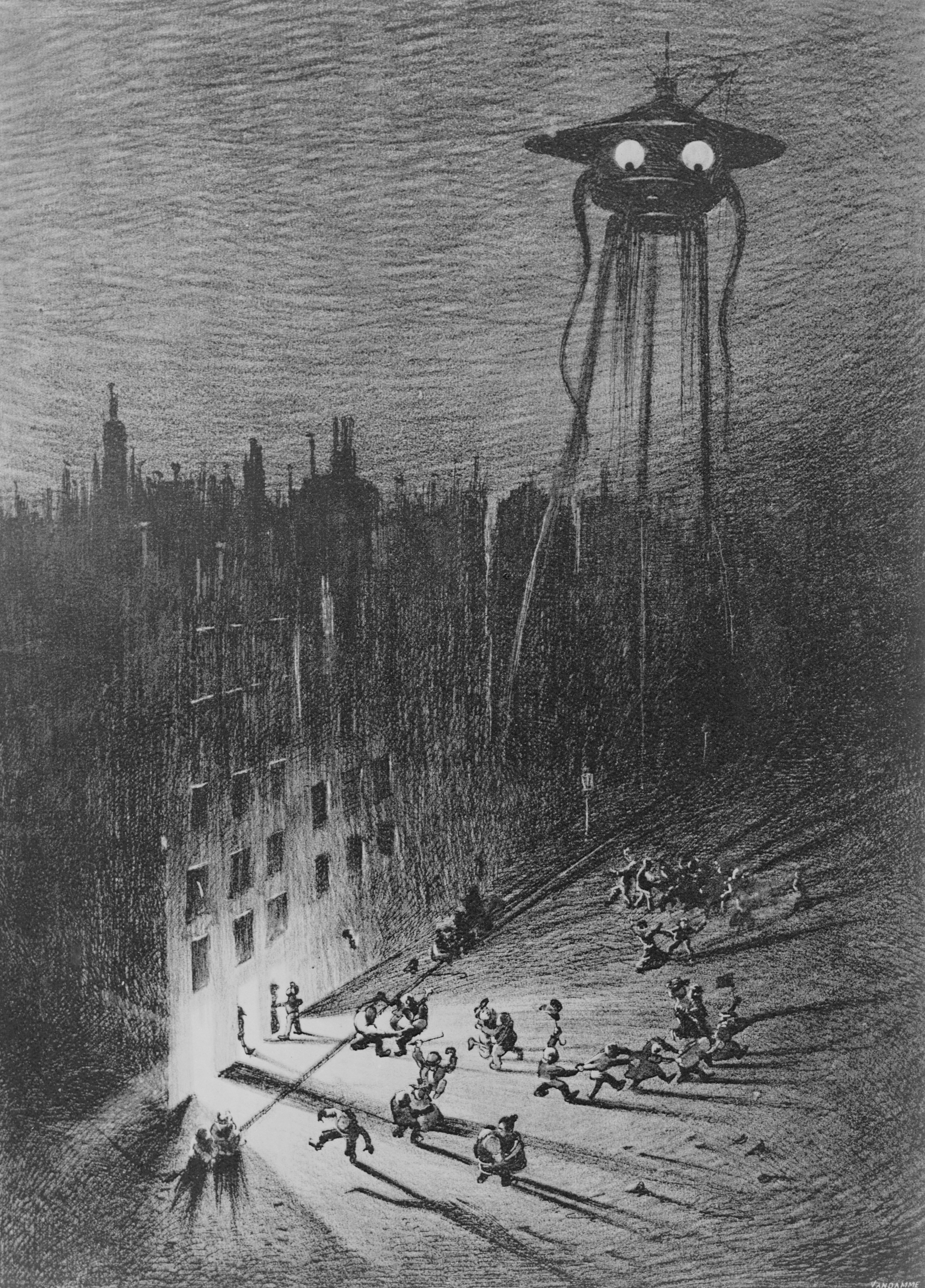 An illustration of a Martian fighting machine hovering over Londoners in Regent Street and Piccadilly, from a 1906 edition of The War of the Worlds by H.G. Wells.