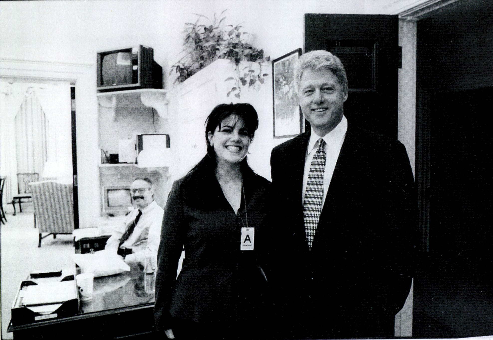 A photograph showing former White House intern Monica Lewinsky meeting President Bill Clinton at a White House function (Getty)