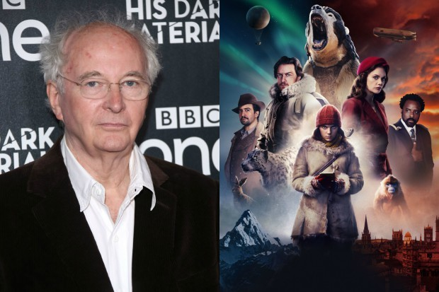 Philip Pullman with the cast of His Dark Materials (BBC, Getty)