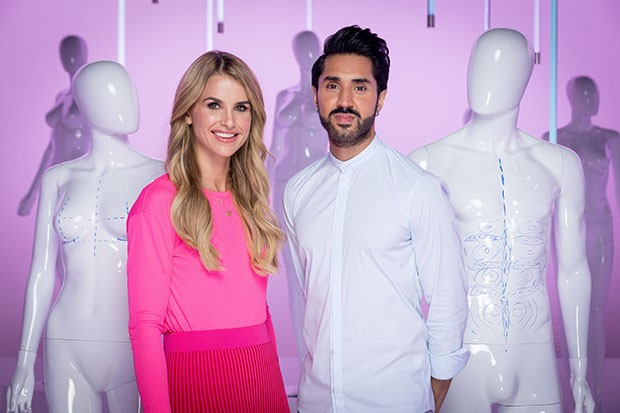 Programme Name: Plastic Surgery Undressed - TX: 10/11/2019 - Episode: n/a (No. n/a) - Picture Shows:  Vogue Williams, Mobeen Azhar - (C) Gobstopper - Photographer: Guy Levy
