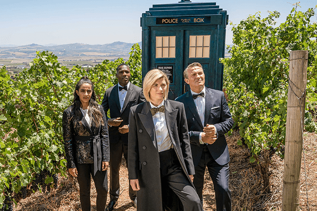 Mandip Gill, Tosin Cole, Jodie Whittaker and Bradley Walsh in Doctor Who (BBC)