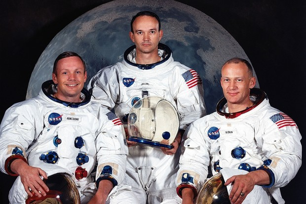 Left to right, are Neil A. Armstrong, commander; Michael Collins, command module pilot; and Edwin E. Aldrin Jr., lunar module pilot. (Getty Images)