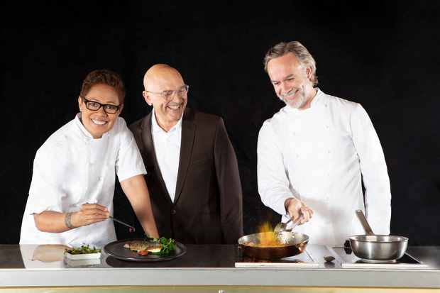 WARNING: Embargoed for publication until 00:00:01 on 29/10/2019 - Programme Name: Masterchef: The Professionals - TX: n/a - Episode: n/a (No. Judges Generics) - Picture Shows: **STRICTLY EMBARGOED NOT FOR PUBLICATION BEFORE 00:01 HRS ON TUESDAY 29TH OCTOBER 2019** Monica Galetti, Gregg Wallace, Marcus Wareing - (C) Shine TV - Photographer: Production