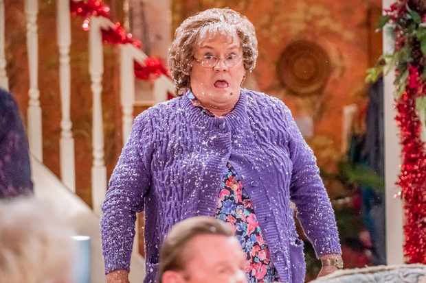 WARNING: Embargoed for publication until 00:00:01 on 07/12/2019 - Programme Name: Mrs Brown's Boys Christmas and New Year Special - TX: n/a - Episode: A Wonderful Mammy (No. 1 - A Wonderful Mammy) - Picture Shows: **STRICTLY EMBARGOED NOT FOR PUBLICATION BEFORE 00:01 HRS ON SATURDAY 7TH DECEMBER 2019** Mrs Brown (BRENDAN O'CARROLL) - (C) BBC Studios - Photographer: Alan Peebles