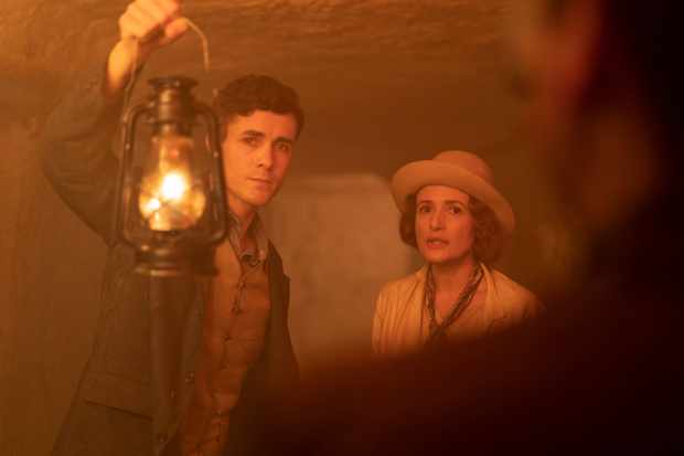 Jonah Hauer King as 'Max' & Lyndsey Marshal as 'Agatha' in the ancient tomb