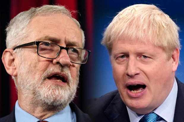 FILE PHOTO (EDITORS NOTE: COMPOSITE OF IMAGES - Image numbers 1083542594,1173062971 - GRADIENT ADDED) In this composite image a comparison has been made between Jeremy Corbyn, Labour Leader (L) and Boris Johnson, Prime Minister and Conservative Leader. ***LEFT IMAGE*** HASTINGS, ENGLAND - JANUARY 17: Labour Leader Jeremy Corbyn gives a speech at a rally at St Mary's in the Castle on January 17, 2019 in Hastings, England. British Prime Minister Theresa May last night won a vote of no-confidence called by Leader of the Opposition Jeremy Corbyn after the Government's historic defeat on the meaningful vote on Brexit. (Photo by Jack Taylor/Getty Images) ***RIGHT IMAGE***  MANCHESTER, ENGLAND - OCTOBER 02: British Prime Minister Boris Johnson delivers his keynote speech onstage on the final day of the Conservative Party Conference at Manchester Central on October 2, 2019 in Manchester, England. The U.K. government prepares to formally submit its finalised Brexit plan to the EU today. The offer replaces the Northern Irish Backstop with border, customs and regulatory checks lasting until 2025. (Photo by Christopher Furlong/Getty Images)