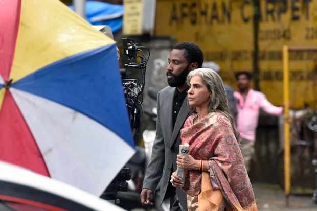 MUMBAI, INDIA - SEPTEMBER 17: American actor John David Washington and Indian film actress Dimple Kapadia spotted shooting for Hollywood filmmaker Christopher Nolan next film 'Tenet' near Taj Hotel, Colaba, on September 17, 2019 in Mumbai, India. (Photo by Kunal Patil/Hindustan Times via Getty Images)