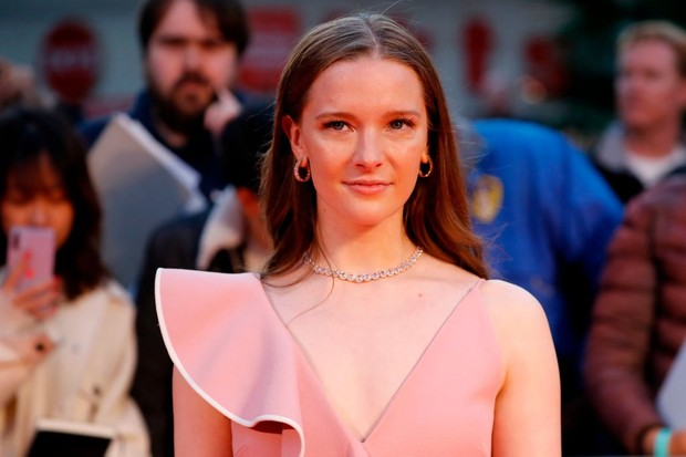 """British actor Morfydd Clark poses upon arrival for the European Premiere of the film """"The Personal History of David Copperfield"""" during the opening night gala event for the BFI London Film Festival in London on October 2, 2019. (Photo by Tolga AKMEN / AFP) (Photo by TOLGA AKMEN/AFP via Getty Images)"""