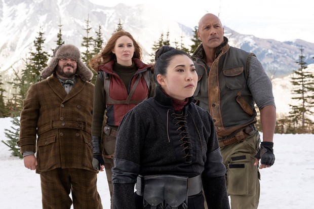 Jack Black, Karen Gillan, Awkwafina and Dwayne Johnson in Jumanji: The Next Level (Sony)