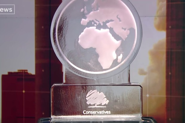 Conservative party represented by an ice sculpture at Channel 4 election debate