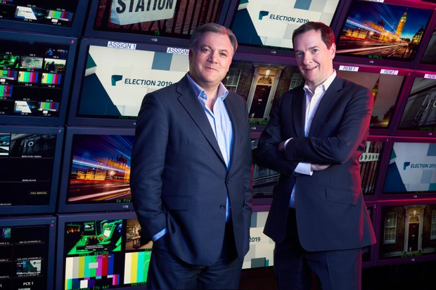 From Multistory Media production ELECTION 2019 LIVE: THE RESULTS Thursday 12th December 2019 on ITV Pictured: Ed Balls and George Osborne Photographer: David Emery (C) ITV For further information please contact Peter Gray 0207 157 3046 peter.gray@itv.com This photograph is © ITV and can only be reproduced for editorial purposes directly in connection with the programme ELECTION 2019 LIVE: THE RESULTS or ITV. Once made available by the ITV Picture Desk, this photograph can be reproduced once only up until the Transmission date and no reproduction fee will be charged. Any subsequent usage may incur a fee. This photograph must not be syndicated to any other publication or website, or permanently archived, without the express written permission of ITV Picture Desk. Full Terms and conditions are available on the website https://www.itv.com/presscentre/itvpictures/terms