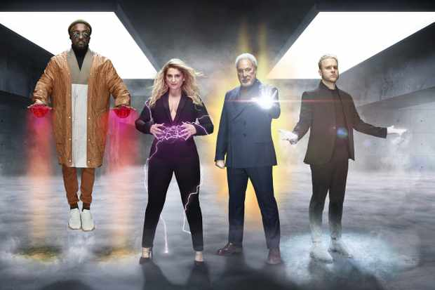 This image is strictly embargoed until 00.01 Friday 27th December 2019  From ITV Studios  The Voice UK: SR4 on ITV  Pictured: will.i.am, Meghan Trainor, Sir Tom Jones and Olly Murs.  This photograph is (C) ITV Plc and can only be reproduced for editorial purposes directly in connection with the programme or event mentioned above, or ITV plc. Once made available by ITV plc Picture Desk, this photograph can be reproduced once only up until the transmission [TX] date and no reproduction fee will be charged. Any subsequent usage may incur a fee. This photograph must not be manipulated [excluding basic cropping] in a manner which alters the visual appearance of the person photographed deemed detrimental or inappropriate by ITV plc Picture Desk.  This photograph must not be syndicated to any other company, publication or website, or permanently archived, without the express written permission of ITV Picture Desk. Full Terms and conditions are available on the website www.itv.com/presscentre/itvpictures/terms  For further information please contact: james.hilder@itv.com / 0207 157 3052