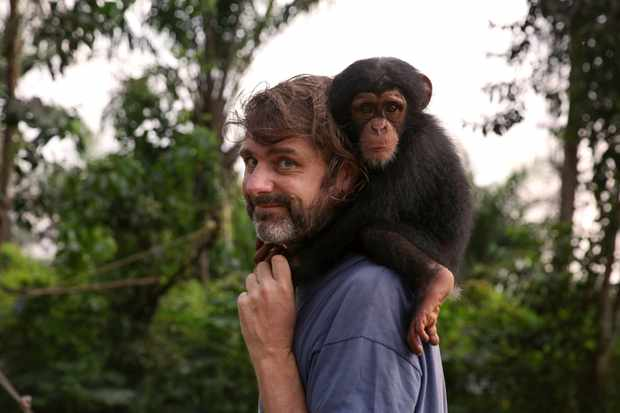 WARNING: Embargoed for publication until 00:00:01 on 12/12/2019 - Programme Name: Baby Chimp Rescue - TX: n/a - Episode: Baby Chimp Rescue - ep 1 (No. 1) - Picture Shows: with chimp Ella. Being dad to 20 chimps isn't easy but Jimmy Desmond helps give constant care and love to the orphaned chimps. Jimmy Desmond - (C) BBC - Photographer: Lindsey Parietti