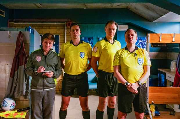 Programme Name: Inside No. 9 Series 5 - TX: n/a - Episode: The Referee's a Wanker (No. 1) - Picture Shows: **STRICTLY EMBARGOED UNTIL 23/01/2020 00:00:01** Brendan (REECE SHEARSMITH), Phil (RALF LITTLE), Martin (DAVID MORRISSEY), Oggy (STEVE PEMBERTON) - (C) BBC - Photographer: Sophie Mutevelian