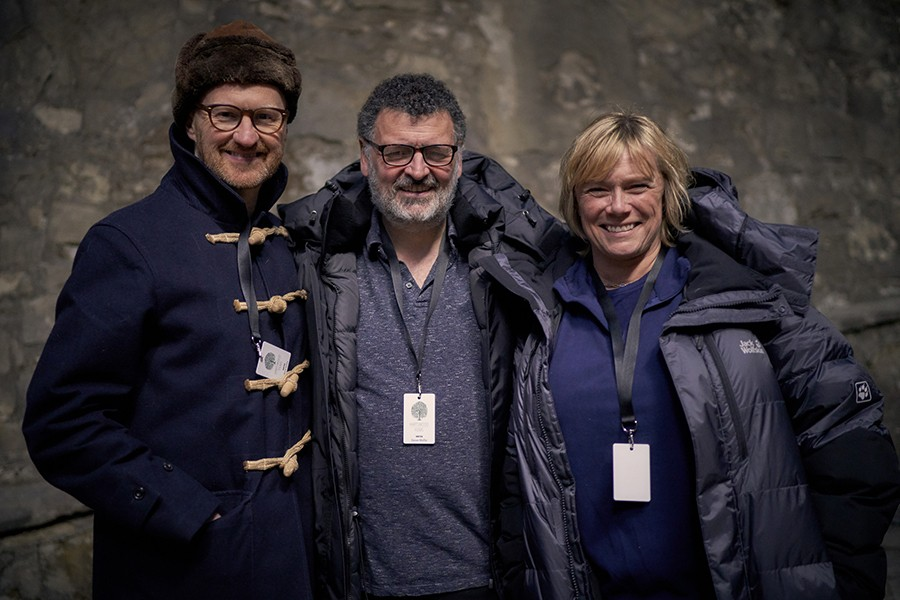Mark Gatiss, Steven Moffat and Sue Vertue on the set of Dracula (BBC)