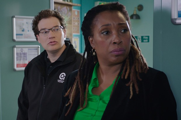 Programme Name: Holby City - TX: n/a - Episode: n/a (No. 4) - Picture Shows: Jason Haynes (JULES ROBERTSON), Max McGerry (JO MARTIN) - (C) BBC - Photographer: screengrab