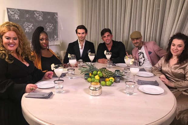 (L-R) Donna Preston, Verona Rose, Mark-Francis Vandelli, Jack Fincham, Abz Love and Dani Harmer..