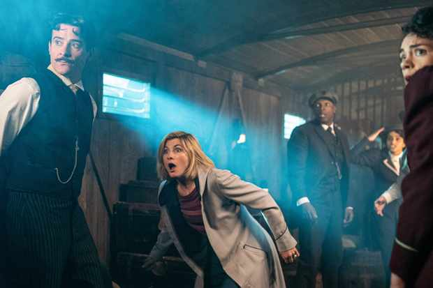 WARNING: Embargoed for publication until 00:00:01 on 14/01/2020 - Programme Name: Doctor Who Series 12 - TX: n/a - Episode: n/a (No. 4) - Picture Shows: PRE TX  ** STRICTLY EMBARGOED UNTIL 14/01/2020 00:00:01** Nikola Tesla (GORAN VISNJIC), The Doctor (JODIE WHITTAKER), Ryan (TOSIN COLE), Yaz (MANDIP GILL), Graham (BRADLEY WALSH) - (C) BBC - Photographer: Ben Blackall
