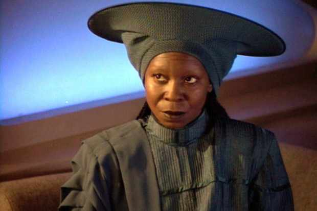 American actress Whoopi Goldberg (as Guinan) in a scene from an episode of the television series 'Star Trek: The Next Generation' entitled 'I, Borg,' California, May 11, 1992. (Photo by CBS Photo Archive/Getty Images)